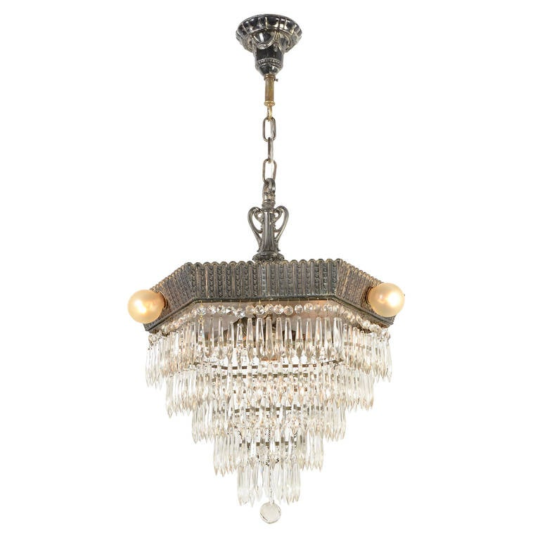 Silverplated Hexagonal Tiered Crystal Chandelier at 1stdibs