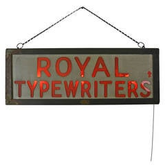 Early Royal Typewriters Illuminated Sign, circa 1915