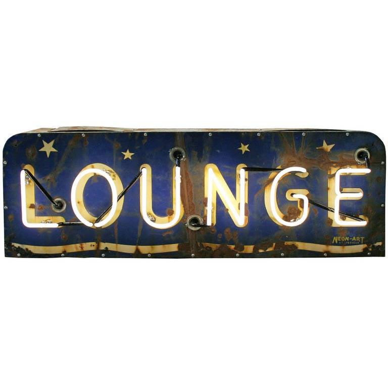 Perfectly Worn Neon Lounge Sign, circa 1940 at 1stdibs