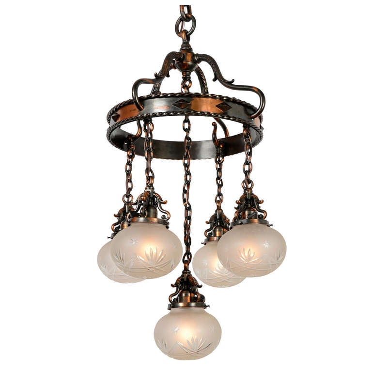Eclectic copper suspended ring and shower chandelier circa 1915 at 1stdibs - Circa lighting chandeliers ...