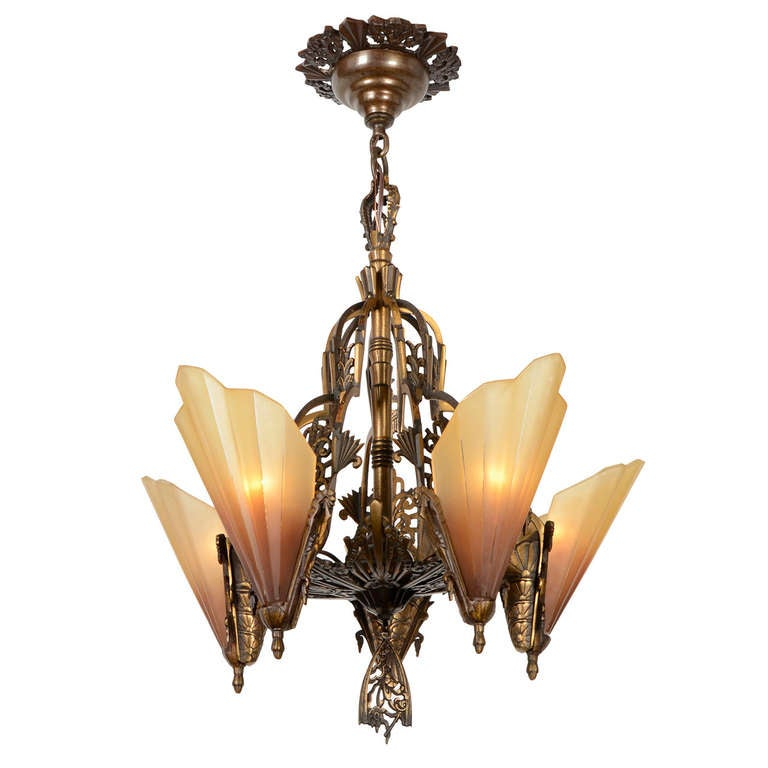 American art deco 5 light soleure or brown tip chandelier circa 1932 at 1stdibs - Circa lighting chandeliers ...