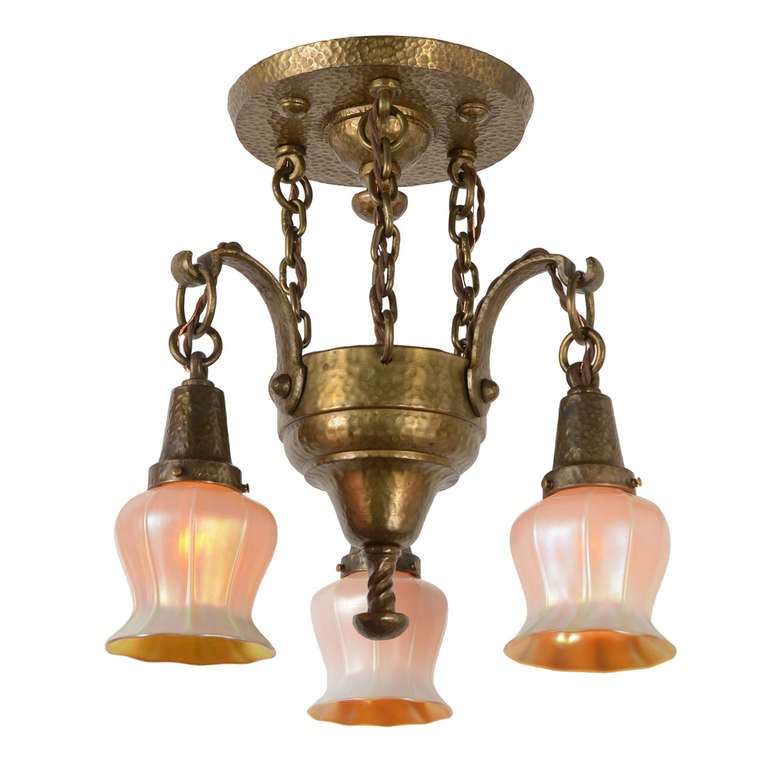 American arts and crafts hammered chandelier with quezal for Arts and crafts chandelier