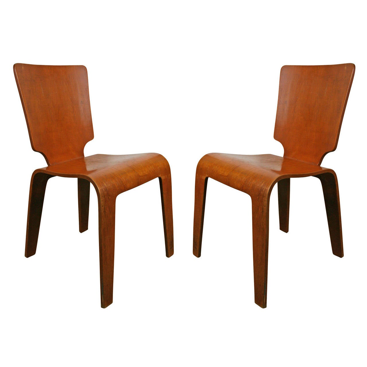 Pair of Thaden Jordan Molded Plywood Side Chairs circa 1947 at