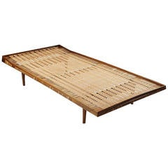 Daybed in Walnut and Cane Attributed to Ib Kofoed Larsen, Denmark, 1950s