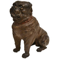Large Painted Terracotta Dog, Late 19th Century