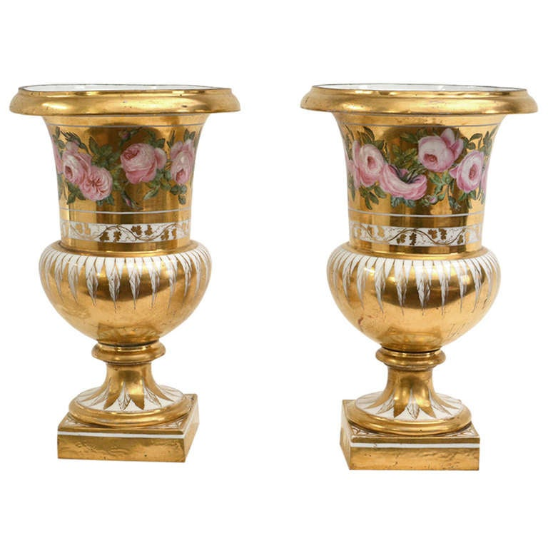 Pair of French Porcelain Gold-Ground and Flower Painted Vases, 19th Century