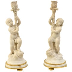 Pair of French Louis XVI White Marble Candlesticks With Gilt Bronze Mounts