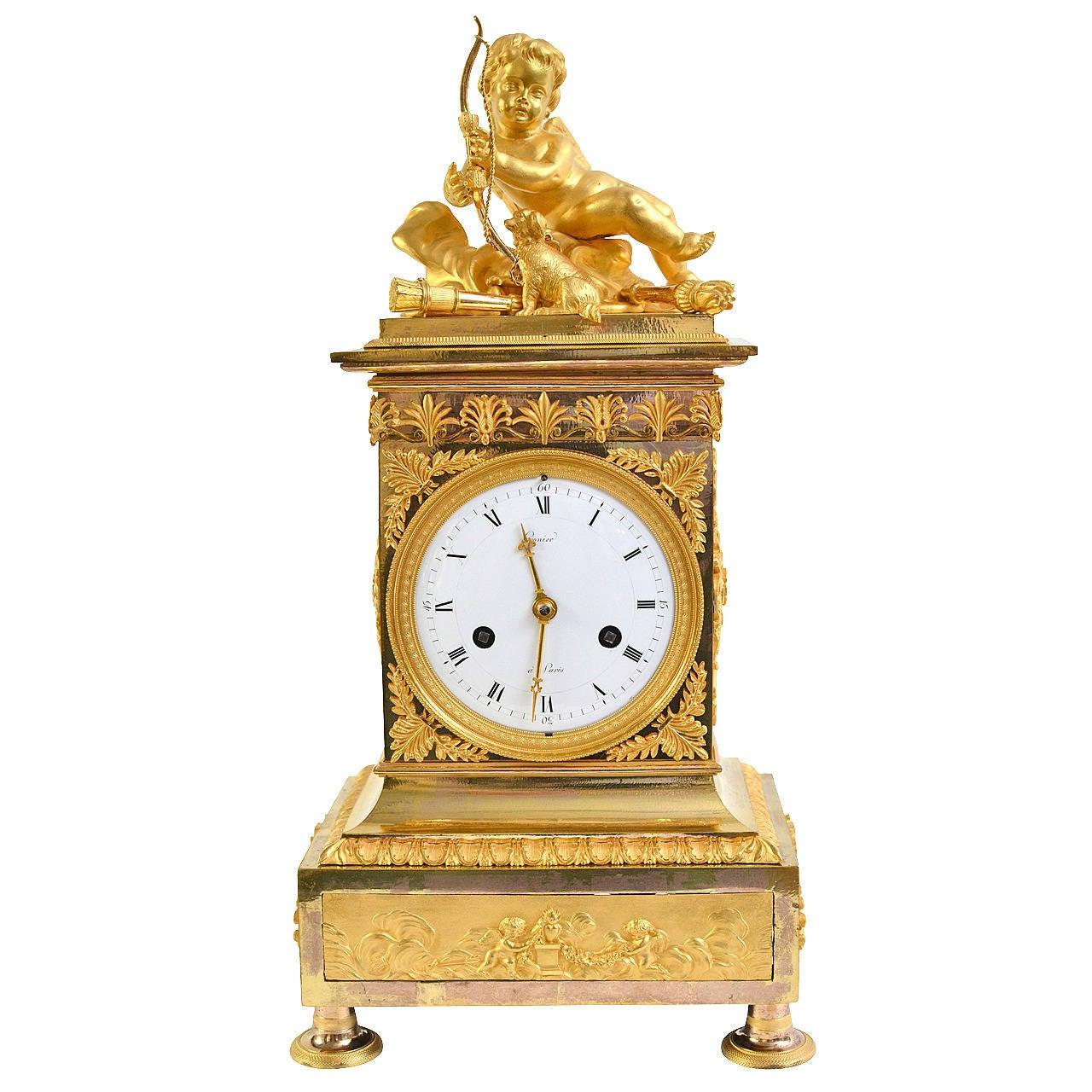 Empire Gilt Bronze Mantel Clock, Paris, Early 19th Century