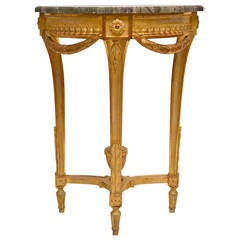 Swedish 18th Century Gustavian Giltwood Console Table with a Marble Top