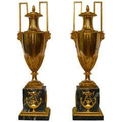 Fine Pair of Empire Gilt Bronze and Marble Vases, Paris, circa 1810