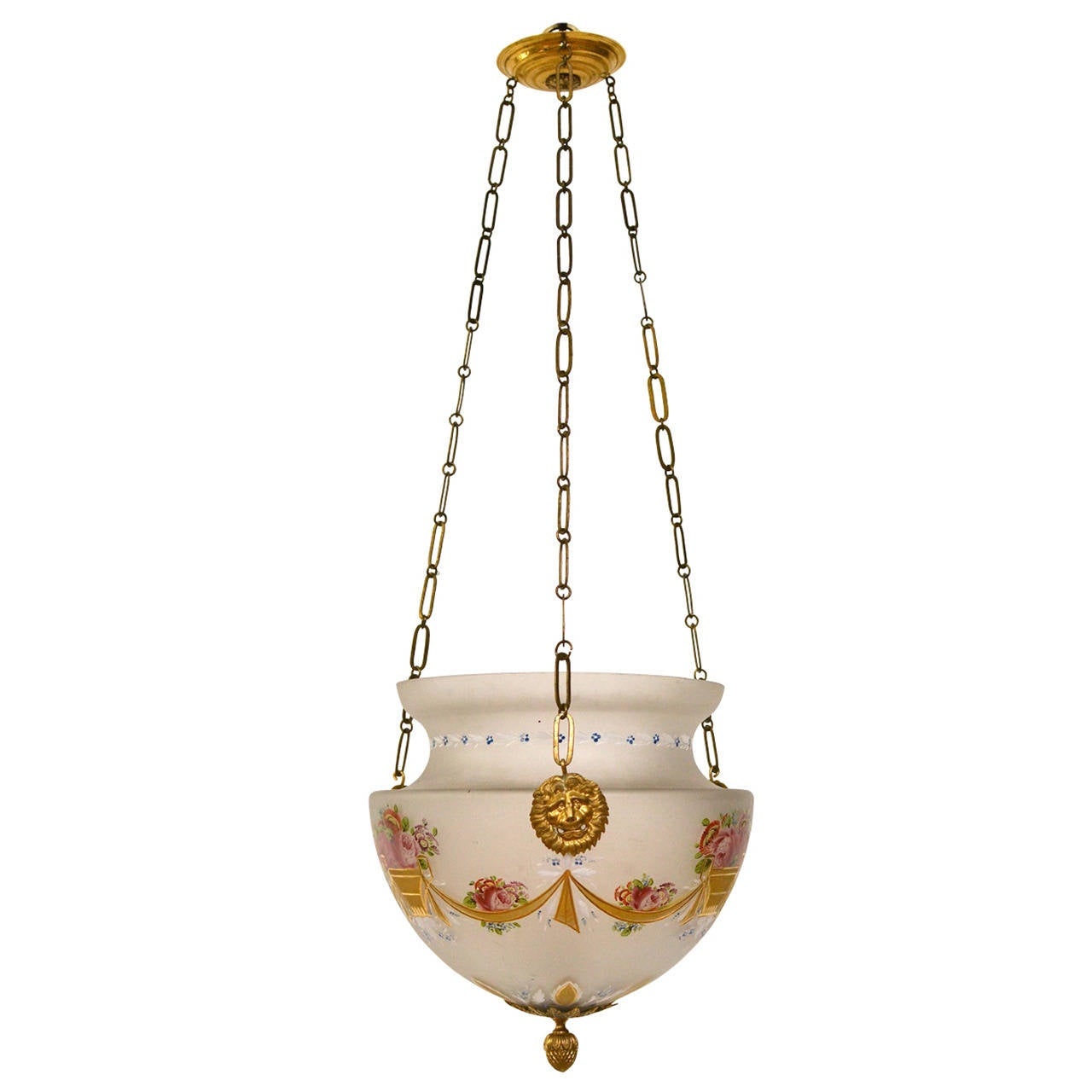 Empire Hanging Glass Lamp/Lantern with Gilt Bronze Mounts  For Sale