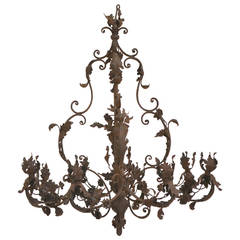 Wrought Iron Rococo Chandelier, 18th Century, Possibly German
