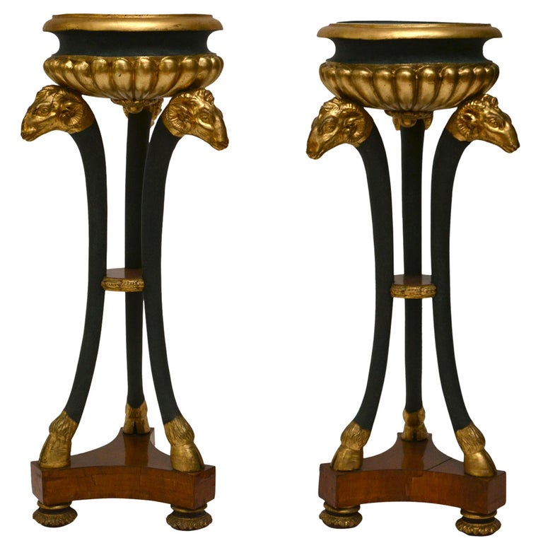 Pair of Empire Gilt and Patinated and Mahogany Veneered Wood Gueridons For Sale