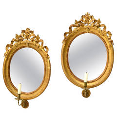 Pair of 18th Century Oval Swedish Gustavian Giltwood Girandole Mirrors