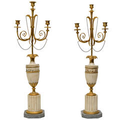 Pair of Directoire Gilt Bronze and Marble Candelabra, circa 1800