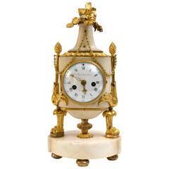 Louis XVI Ormolu and Marble Mantel Clock, Signed Barancourt a Paris