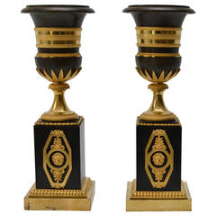 Pair of Gilt Bronze Empire Urn Shaped Candlesticks, Early 19th Century