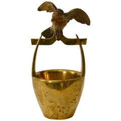 Large Wiener Bronze Shaped as a Basket with a Bird Sitting on the Handle