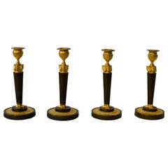 Set of Four Gilt and Patinated Bronze Candlesticks Attributed to Galle