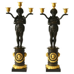 Pair of Empire Gilt Bronze Candelabras Attributed to Chiboust, Paris