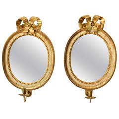 Pair of Swedish Gustavian Giltwood Oval Mirror Girandoles, 18th Century
