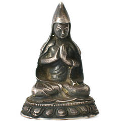 Miniature Silver Buddha, circa 19th Century or Earlier