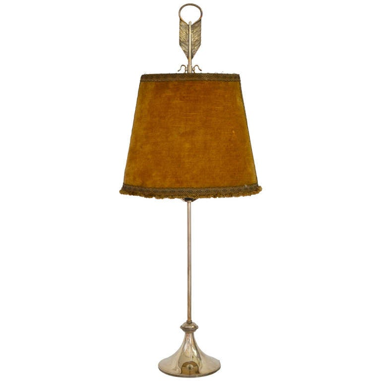 Silver Plated Lamp Marked F. Valenti