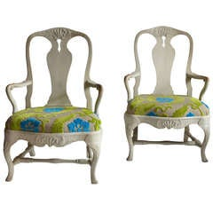 Pair of Large Swedish Rococo Armchairs Signed circa 1760-70