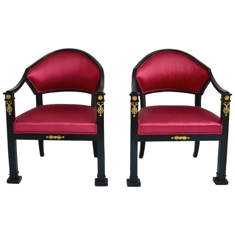 Pair of Swedish Ebonized Empire Armchairs, circa 1820