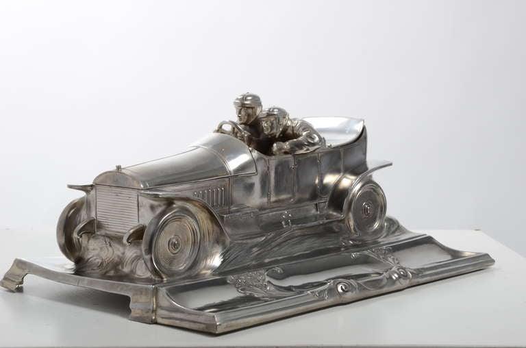 Wmf Racing Car Desk Piece Silverplated Inkwell 1905 1915