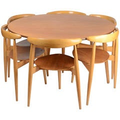 "Dining set, ""Hjertegruppen"" FH4602 and FH4103, by Hans J Wegner for Fritz Hansen"