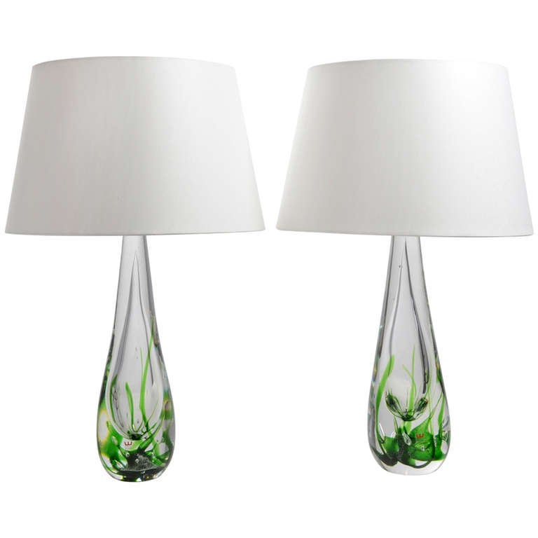 A Pair of Vicke Lindstrand Table Lamps for Kosta Sweden