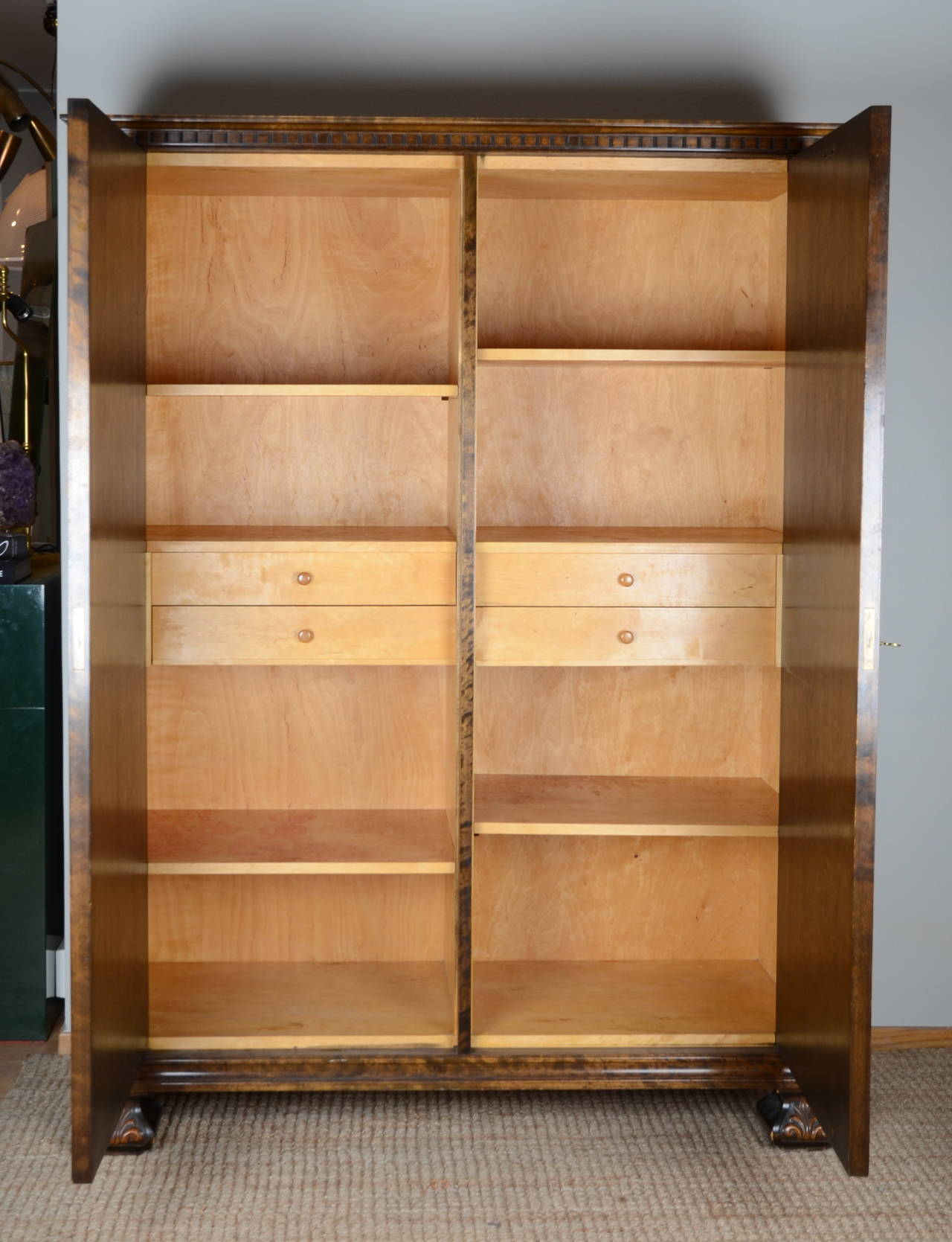 "Swedish Axel Einar Hjorth, Cabinet ""Roma"" in Stained Birch, Bodafors, Sweden, 1920s For Sale"