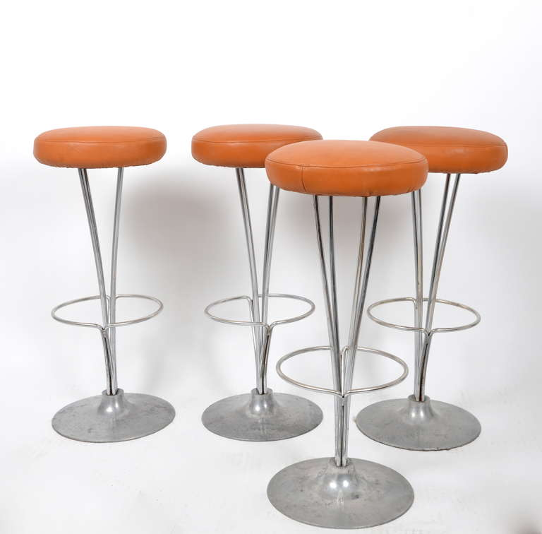 Bar Stools In Leather Designed By Piet Hein For Fritz
