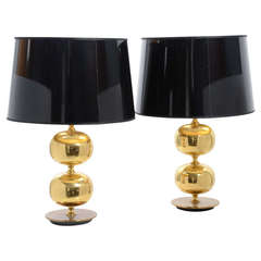 Pair of Table Lamps in Brass by Tranås Stilarmatur AB, Sweden, 1960s-1970s