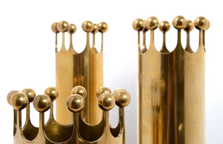 Scandinavian Modern Set of Vases in Brass Designed by Pierre Forssell for Skultuna, Sweden, 1950s For Sale