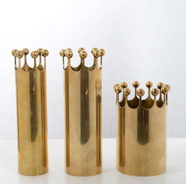 Swedish Set of Vases in Brass Designed by Pierre Forssell for Skultuna, Sweden, 1950s For Sale