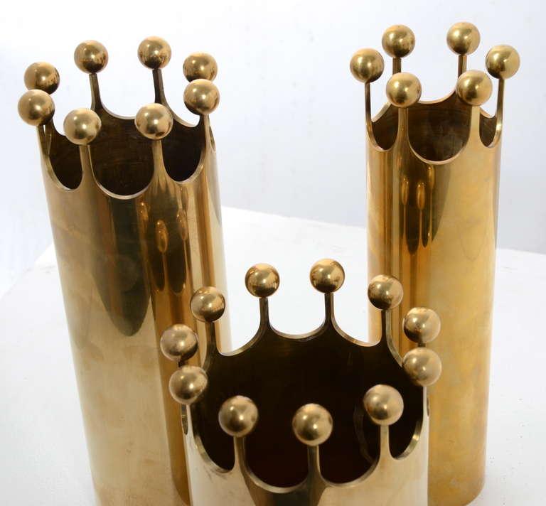 Set of Vases in Brass Designed by Pierre Forssell for Skultuna, Sweden, 1950s In Good Condition For Sale In Stockholm, SE