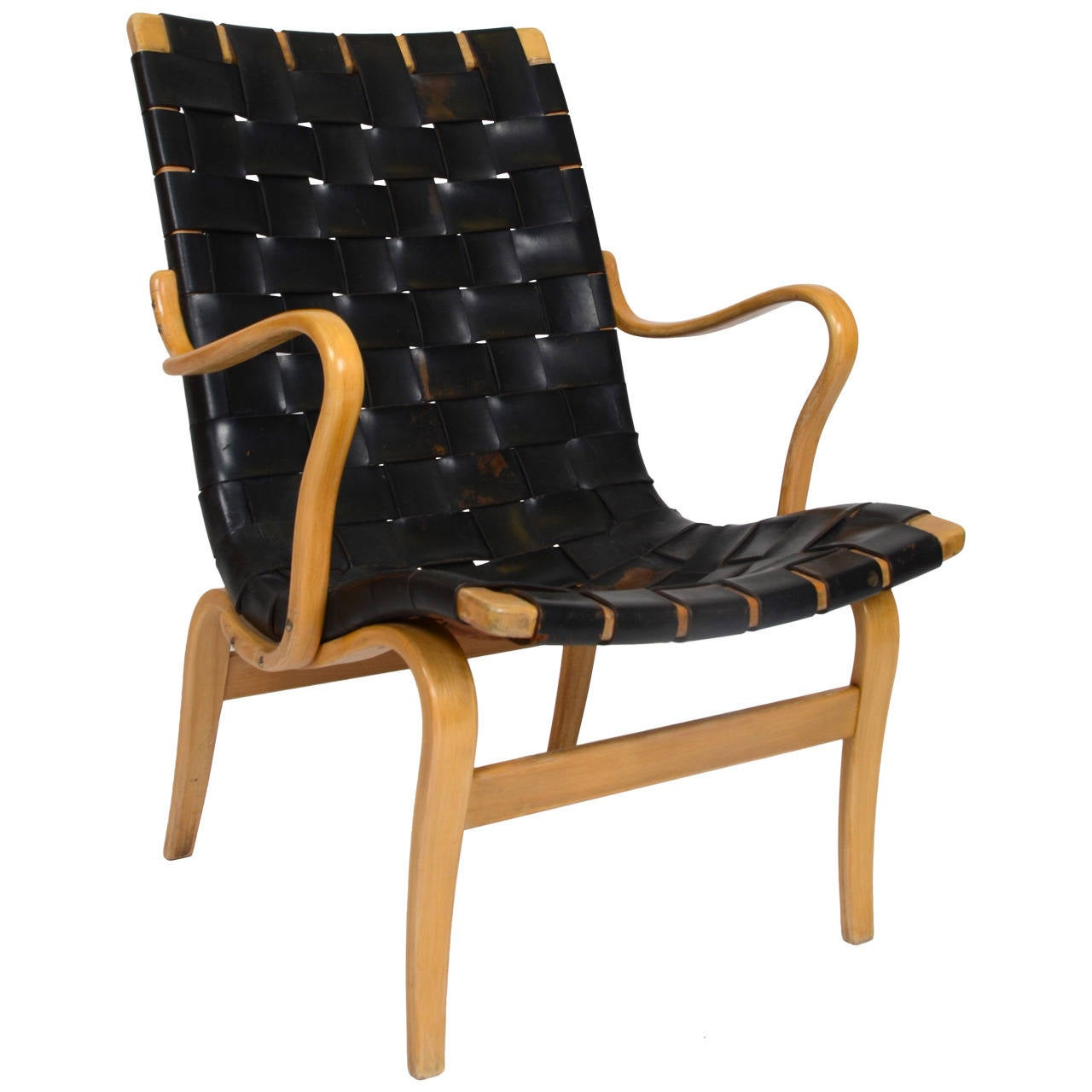 Eva Chair In Leather by Bruno Mathsson for Karl Mathsson, Sweden For Sale