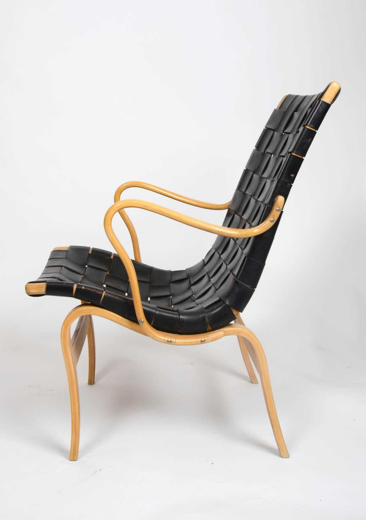Scandinavian Modern Eva Chair In Leather by Bruno Mathsson for Karl Mathsson, Sweden For Sale