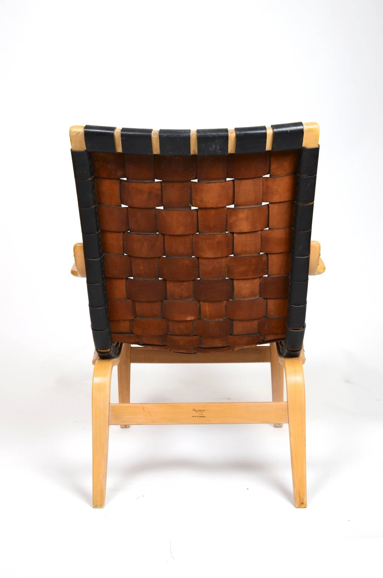 Eva Chair In Leather by Bruno Mathsson for Karl Mathsson, Sweden In Good Condition For Sale In Stockholm, SE