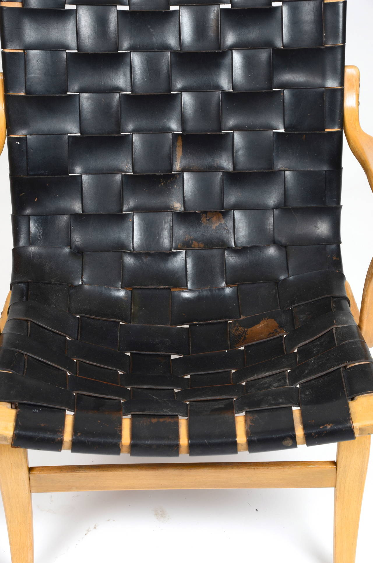 Eva Chair In Leather by Bruno Mathsson for Karl Mathsson, Sweden For Sale 3