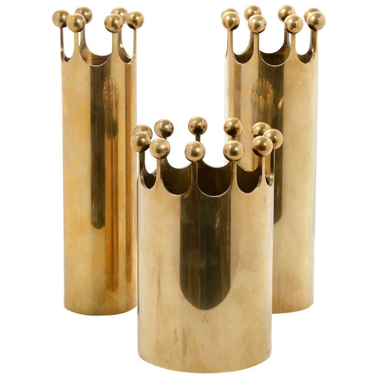 Set of Vases in Brass Designed by Pierre Forsell for Skultuna, Sweden, 1950s