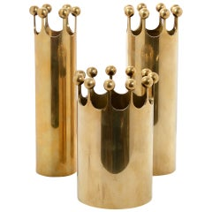 Set of Vases in Brass Designed by Pierre Forssell for Skultuna, Sweden, 1950s