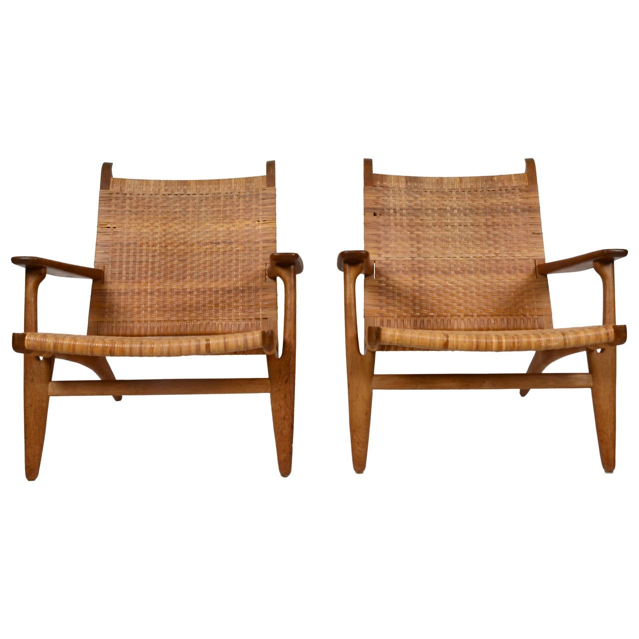 hans j. wegner easy chairs, model ch27, carl hansen and son at 1stdibs