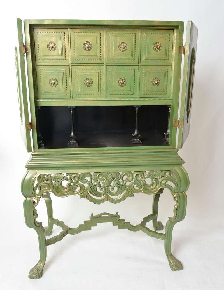 Green Painted Swedish Cabinet 1930s 1940s For Sale At 1stdibs