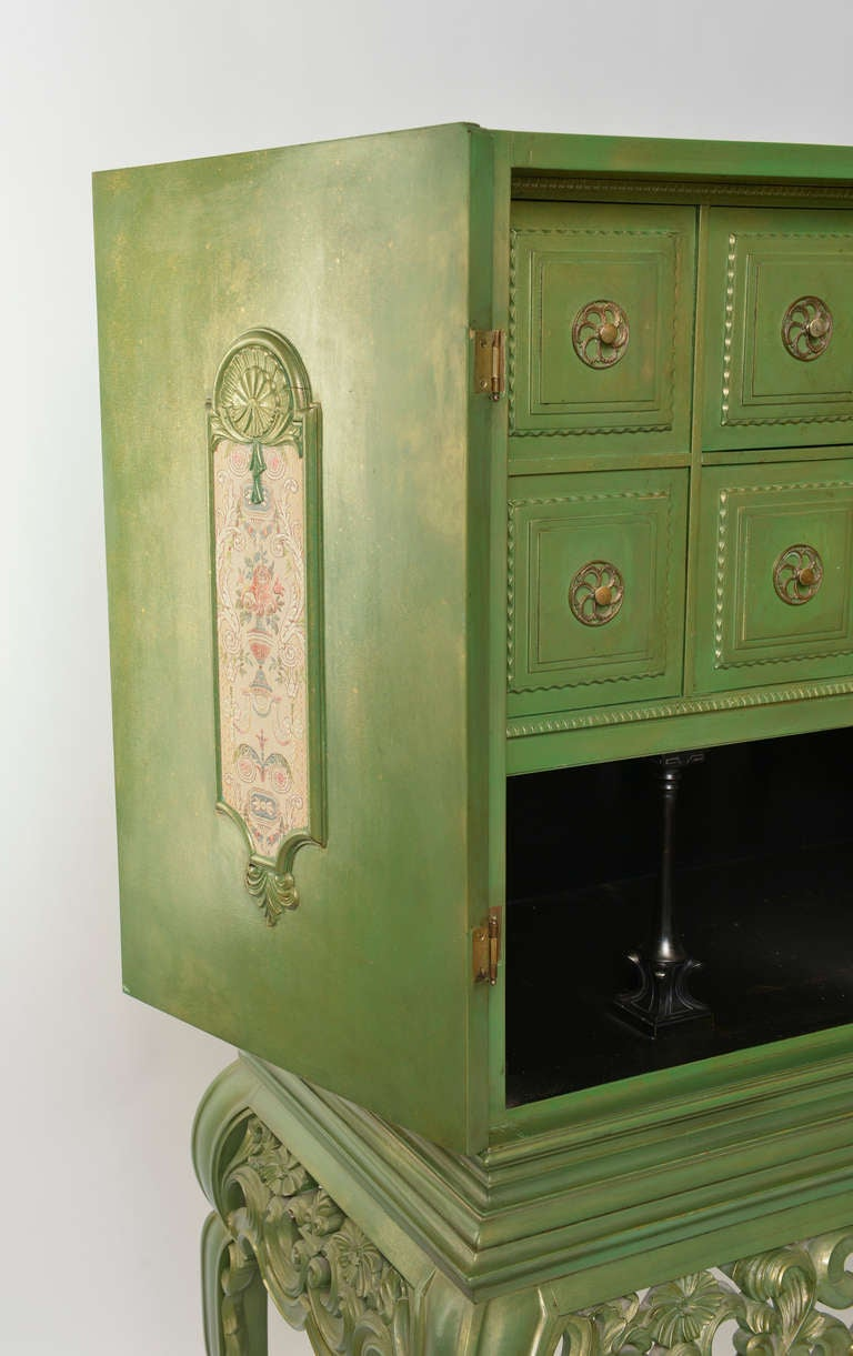 Green Painted Swedish Cabinet 1930s 1940s At 1stdibs