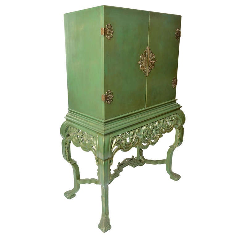 Green Painted Swedish Cabinet, 1930s-1940s