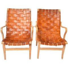 Bruno Mathsson Eva Chairs In Leather, Sweden