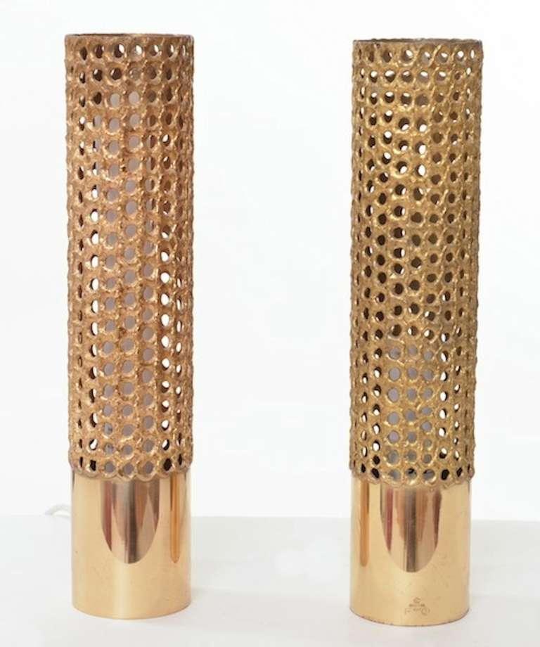 Elk Lighting Pierre: Pierre Forsell Table Lamps In Brass For Skultuna, Sweden